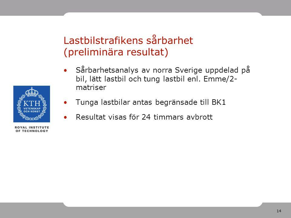 14 Lastbilstrafikens sårbarhet (preliminära resultat) Sårbarhetsanalys av norra Sverige uppdelad på bil, lätt lastbil och tung lastbil enl.