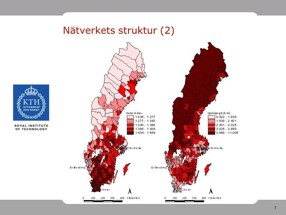 8 Nätverkets struktur (3) Enklare mått på täthet: km väg / kvkm yta Ännu enklare indikator: invånare / kvkm yta