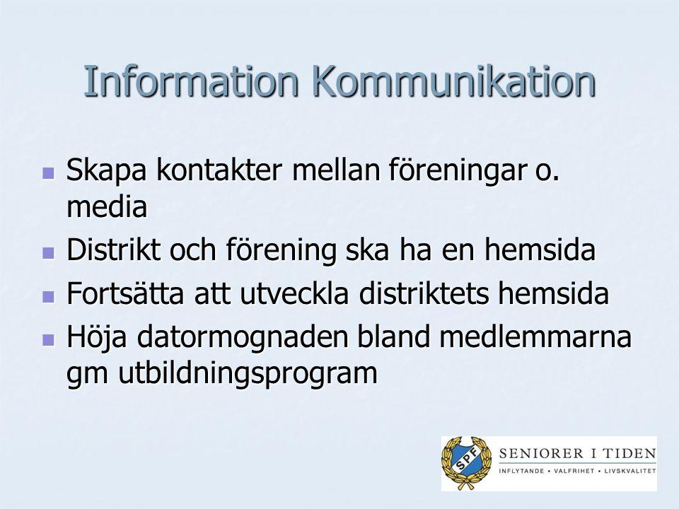 Information Kommunikation Skapa kontakter mellan föreningar o.