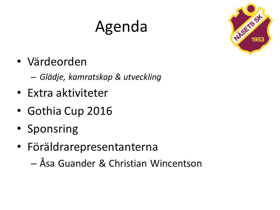 Agenda Värdeorden – Glädje, kamratskap & utveckling Extra aktiviteter Gothia Cup 2016 Sponsring Föräldrarepresentanterna – Åsa Guander & Christian Wincentson