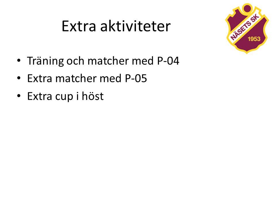 Extra aktiviteter Träning och matcher med P-04 Extra matcher med P-05 Extra cup i höst