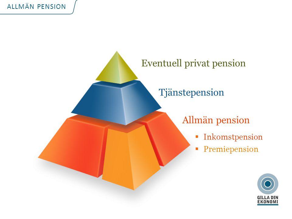 För att uppdatera sidfotstexten, gå till menyfliken: Infoga | Sidhuvud och sidfot. ALLMÄN PENSION Eventuell privat pension Tjänstepension Allmän pensi