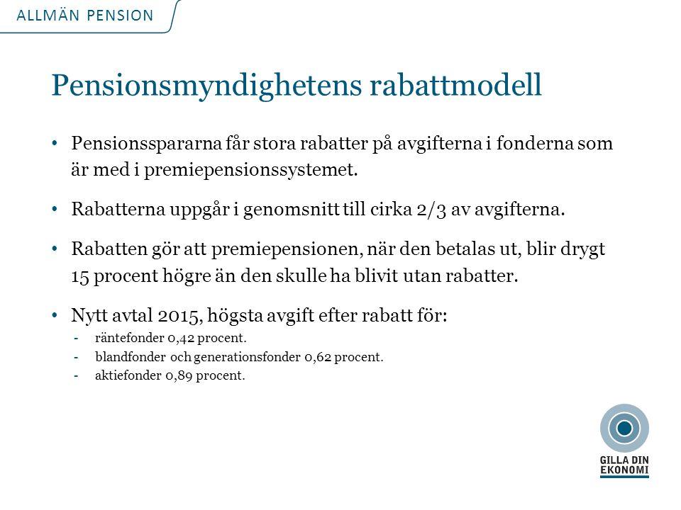 För att uppdatera sidfotstexten, gå till menyfliken: Infoga | Sidhuvud och sidfot. ALLMÄN PENSION Pensionsmyndighetens rabattmodell Pensionsspararna f