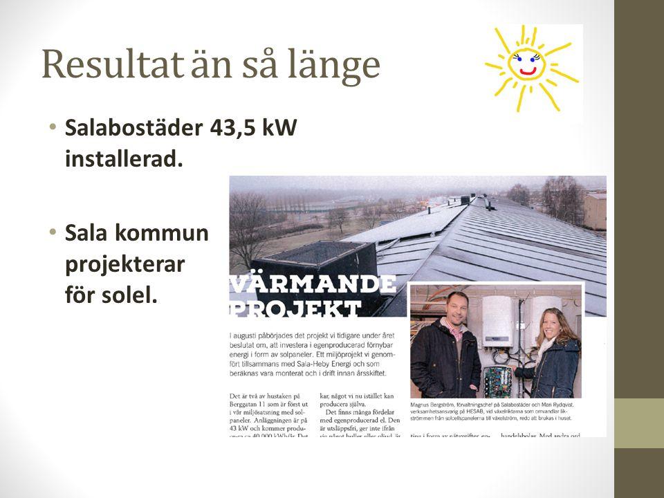 Resultat än så länge Salabostäder 43,5 kW installerad. Sala kommun projekterar för solel.