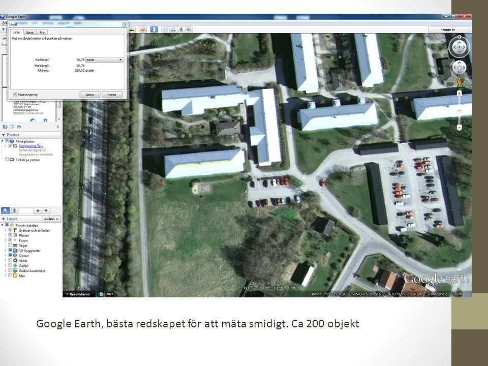 Google Earth, bästa redskapet för att mäta smidigt. Ca 200 objekt