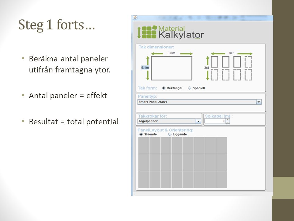 Steg 1 forts… Beräkna antal paneler utifrån framtagna ytor. Antal paneler = effekt Resultat = total potential