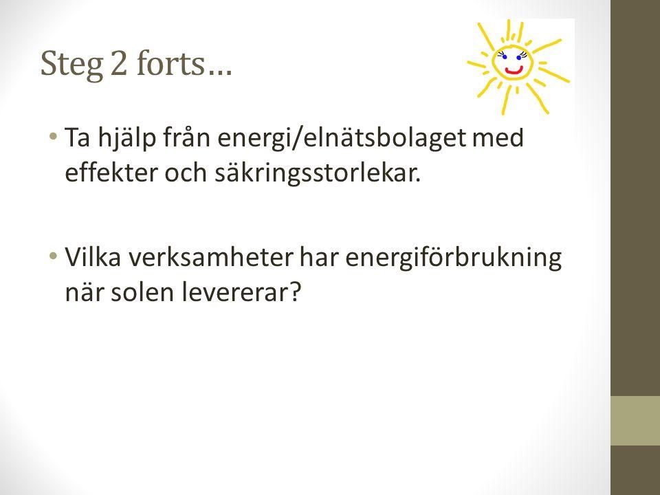 Steg 2 forts… Ta hjälp från energi/elnätsbolaget med effekter och säkringsstorlekar. Vilka verksamheter har energiförbrukning när solen levererar?