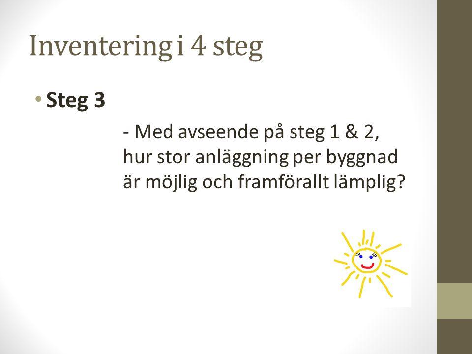 Inventering i 4 steg Steg 3 - Med avseende på steg 1 & 2, hur stor anläggning per byggnad är möjlig och framförallt lämplig