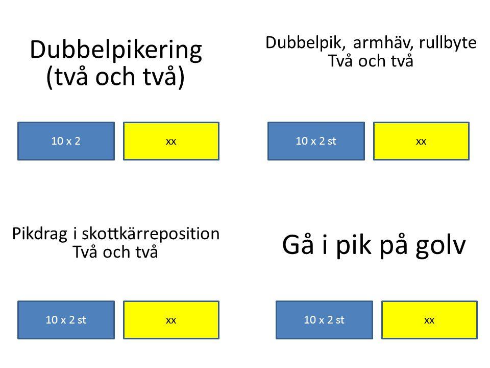 Dubbelpikering (två och två) xx10 x 2 Gå i pik på golv xx10 x 2 st Pikdrag i skottkärreposition Två och två 10 x 2 stxx 10 x 2 st Dubbelpik, armhäv, r