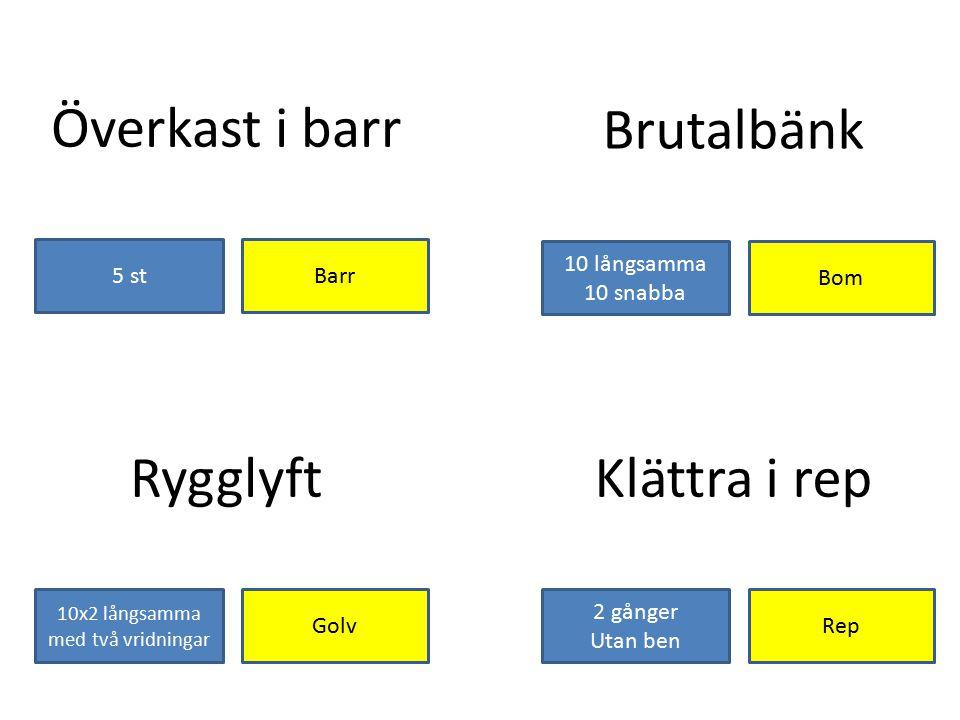 Överkast i barr Barr5 st Brutalbänk Bom 10 långsamma 10 snabba Klättra i rep Rep 2 gånger Utan ben Rygglyft Golv 10x2 långsamma med två vridningar