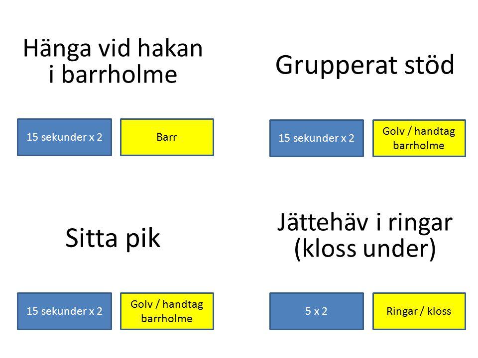 Hänga vid hakan i barrholme Barr15 sekunder x 2 Grupperat stöd Golv / handtag barrholme 15 sekunder x 2 Jättehäv i ringar (kloss under) Ringar / kloss