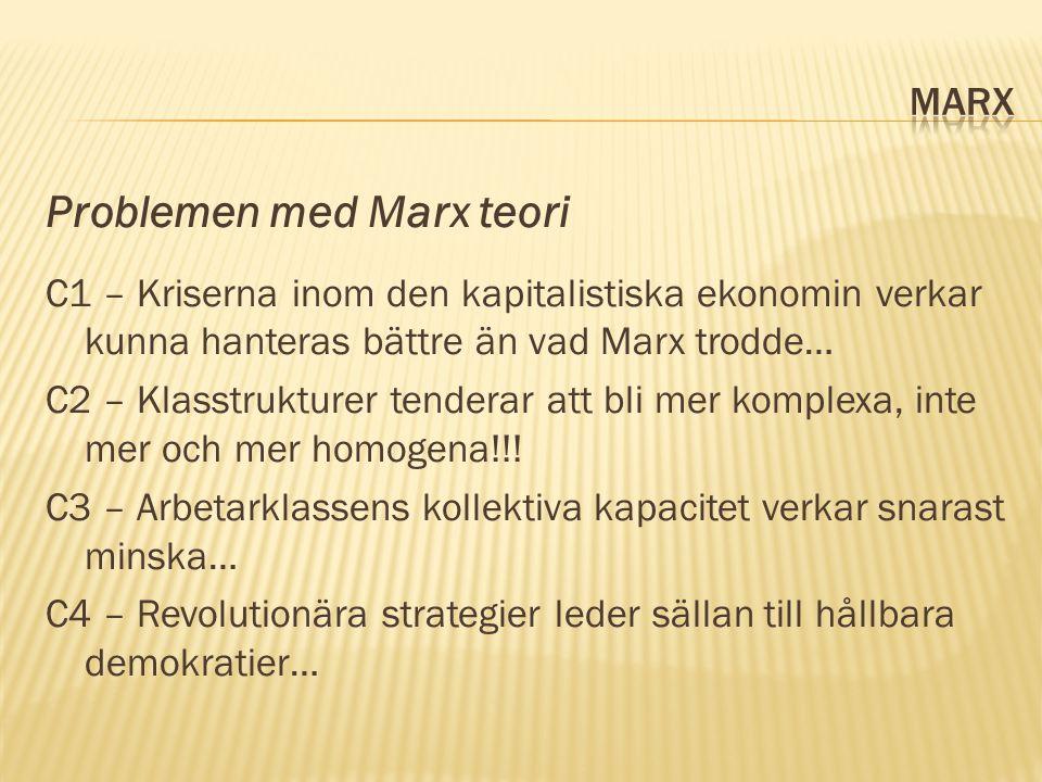 Problemen med Marx teori C1 – Kriserna inom den kapitalistiska ekonomin verkar kunna hanteras bättre än vad Marx trodde… C2 – Klasstrukturer tenderar att bli mer komplexa, inte mer och mer homogena!!.