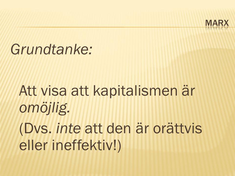 Grundtanke: Att visa att kapitalismen är omöjlig. (Dvs. inte att den är orättvis eller ineffektiv!)