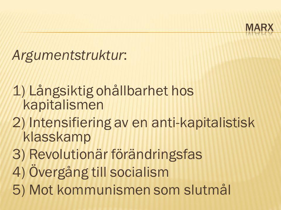 Argumentstruktur: 1) Långsiktig ohållbarhet hos kapitalismen 2) Intensifiering av en anti-kapitalistisk klasskamp 3) Revolutionär förändringsfas 4) Övergång till socialism 5) Mot kommunismen som slutmål