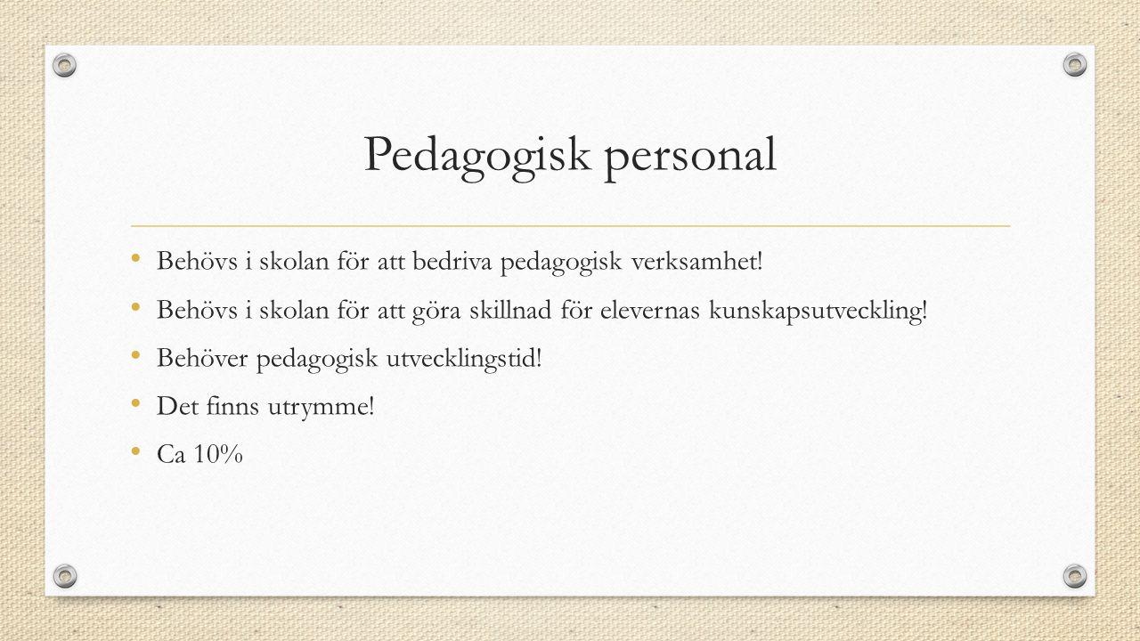 Pedagogisk personal Behövs i skolan för att bedriva pedagogisk verksamhet.