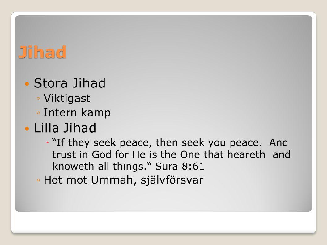 Jihad Stora Jihad ◦Viktigast ◦Intern kamp Lilla Jihad  If they seek peace, then seek you peace.