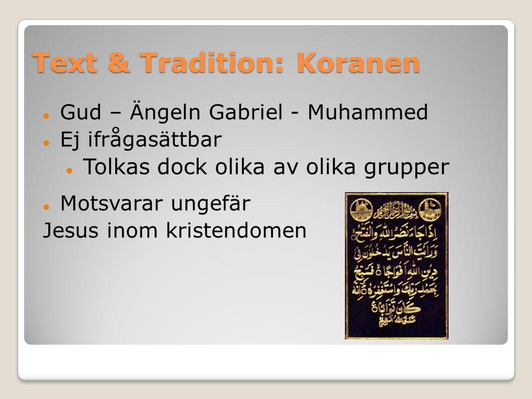 Text & Tradition: Koranen Gud – Ängeln Gabriel - Muhammed Ej ifrågasättbar Tolkas dock olika av olika grupper Motsvarar ungefär Jesus inom kristendomen