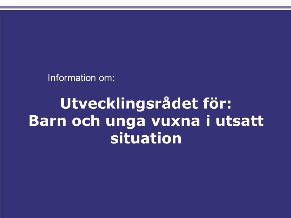 Utvecklingsrådet för: Barn och unga vuxna i utsatt situation Information om: