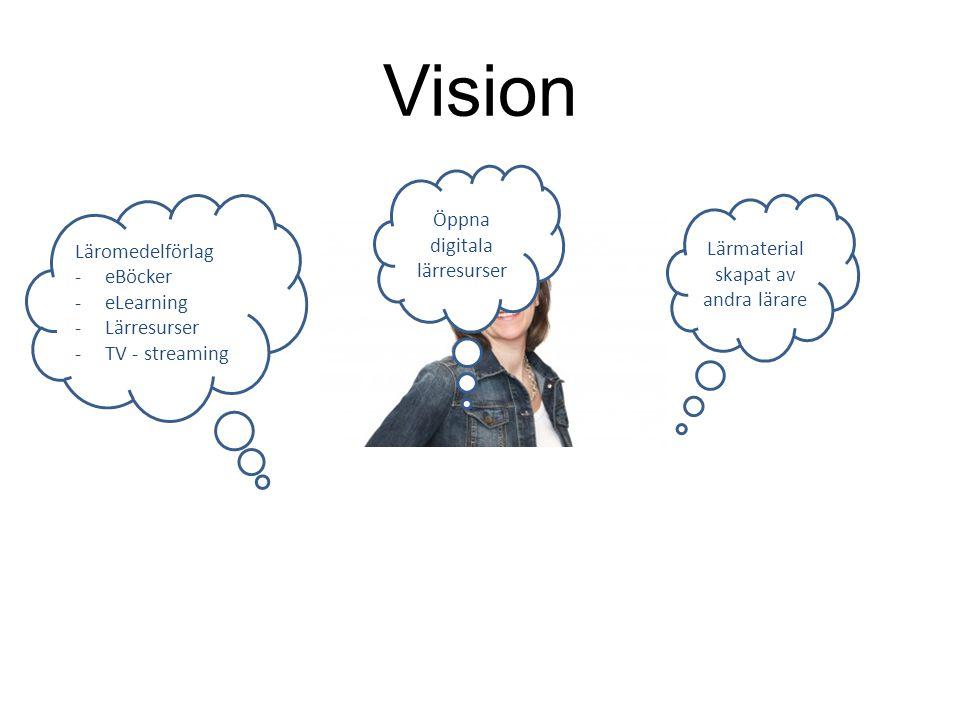 Vision Läromedelförlag -eBöcker -eLearning -Lärresurser -TV - streaming Öppna digitala lärresurser Lärmaterial skapat av andra lärare
