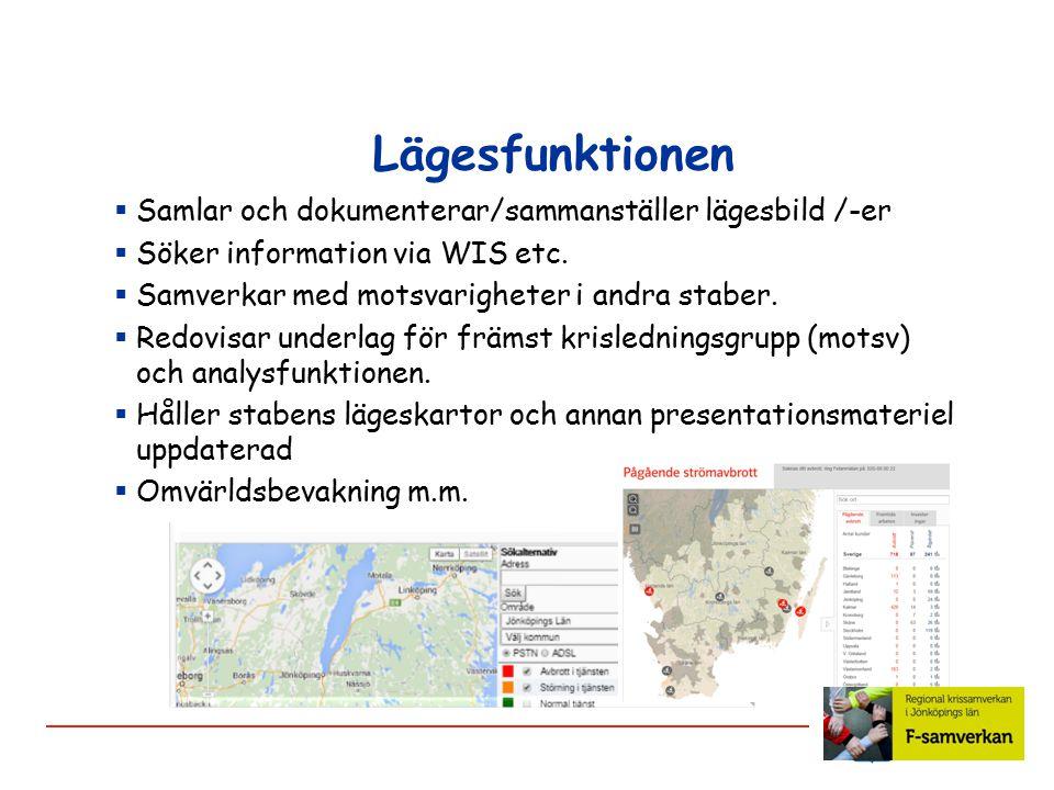 Lägesfunktionen  Samlar och dokumenterar/sammanställer lägesbild /-er  Söker information via WIS etc.  Samverkar med motsvarigheter i andra staber.
