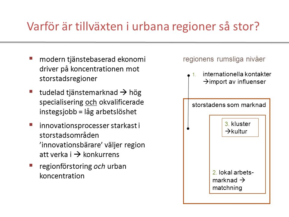 Ortsstruktur Gävleborg utmaningar Brukssamhällen beroende av omgivande naturreserser ersätts av kunskapssamhällets näringar att övertyga om att trender ska utnyttjas för fortsatt utveckling orter på spåret ska fungera ihop med inlandets orter att hantera skilda regionala kulturer den politisk-adminsitrativa utmaningen - att skapa inåt och utåt trovärdiga stabila samverkansformer - att få de sektoriella perspektiven att medverka