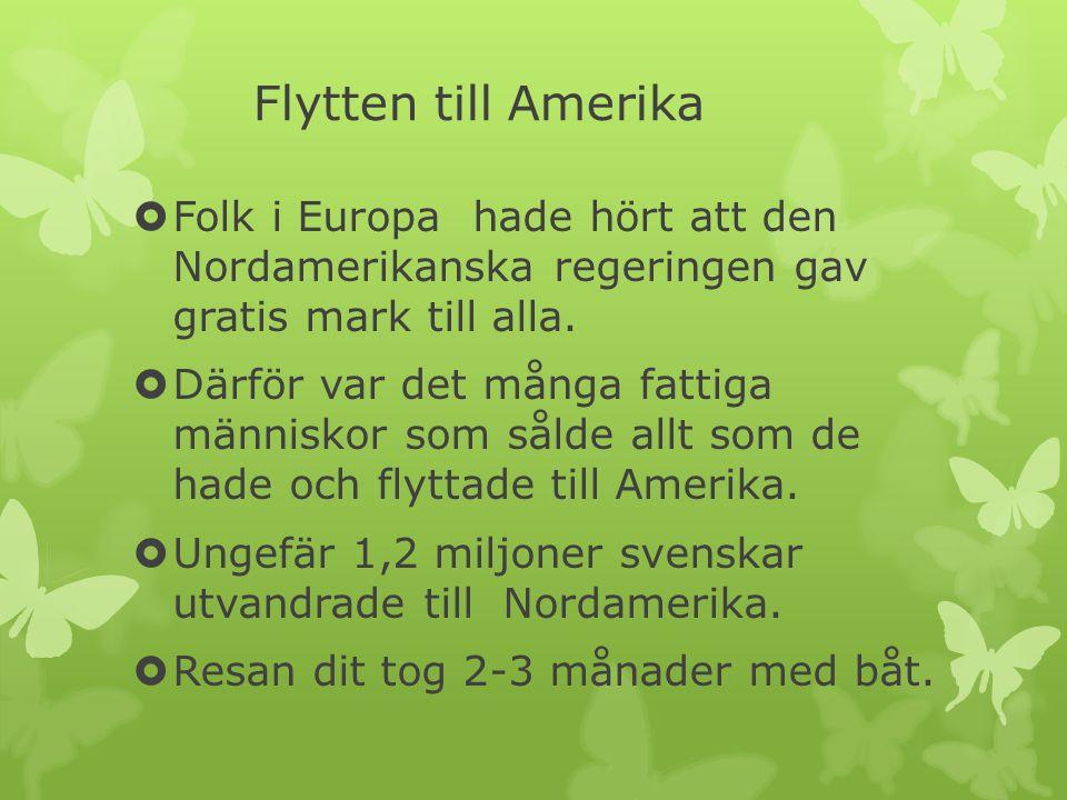 Flytten till Amerika  Folk i Europa hade hört att den Nordamerikanska regeringen gav gratis mark till alla.  Därför var det många fattiga människor
