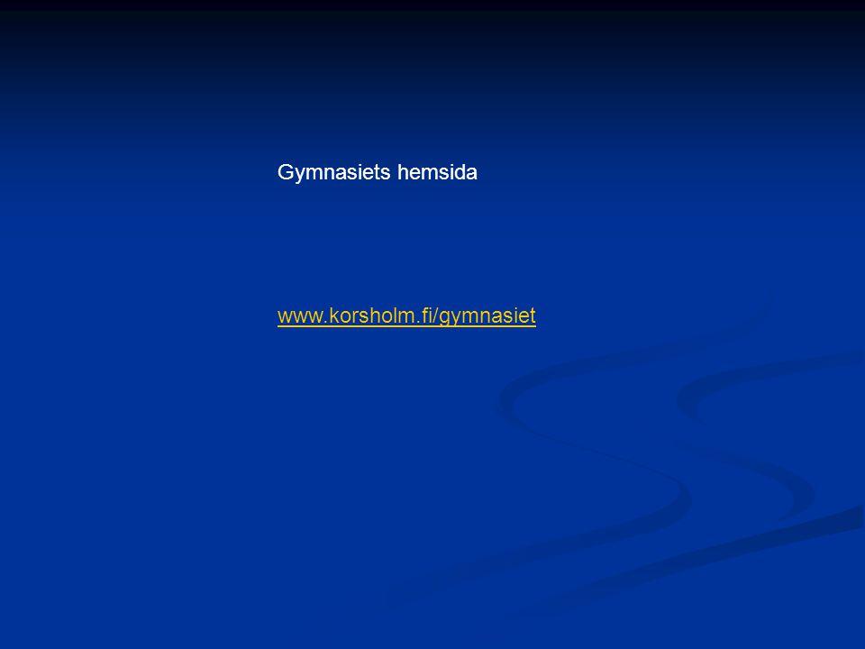 Gymnasiets hemsida www.korsholm.fi/gymnasiet