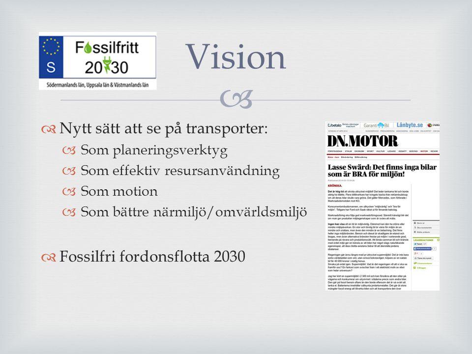   Nytt sätt att se på transporter:  Som planeringsverktyg  Som effektiv resursanvändning  Som motion  Som bättre närmiljö/omvärldsmiljö  Fossil