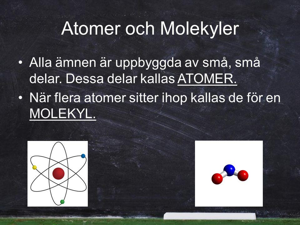 Atomer och Molekyler Alla ämnen är uppbyggda av små, små delar.