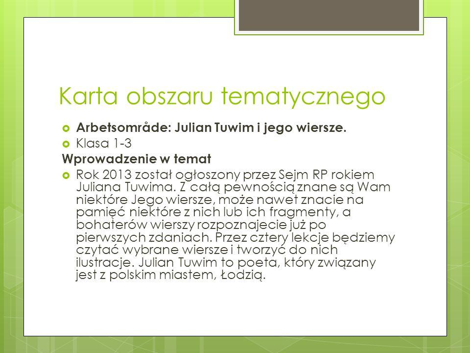 Karta obszaru tematycznego Arbetsområde: Julian Tuwim i jego wiersze. Klasa 1-3 Wprowadzenie w temat Rok 2013 został ogłoszony przez Sejm RP rokiem Ju