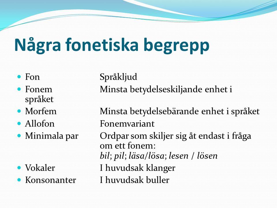 Några fonetiska begrepp FonSpråkljud FonemMinsta betydelseskiljande enhet i språket MorfemMinsta betydelsebärande enhet i språket AllofonFonemvariant