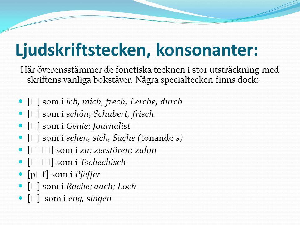 Ljudskriftstecken, konsonanter: Här överensstämmer de fonetiska tecknen i stor utsträckning med skriftens vanliga bokstäver. Några specialtecken finns