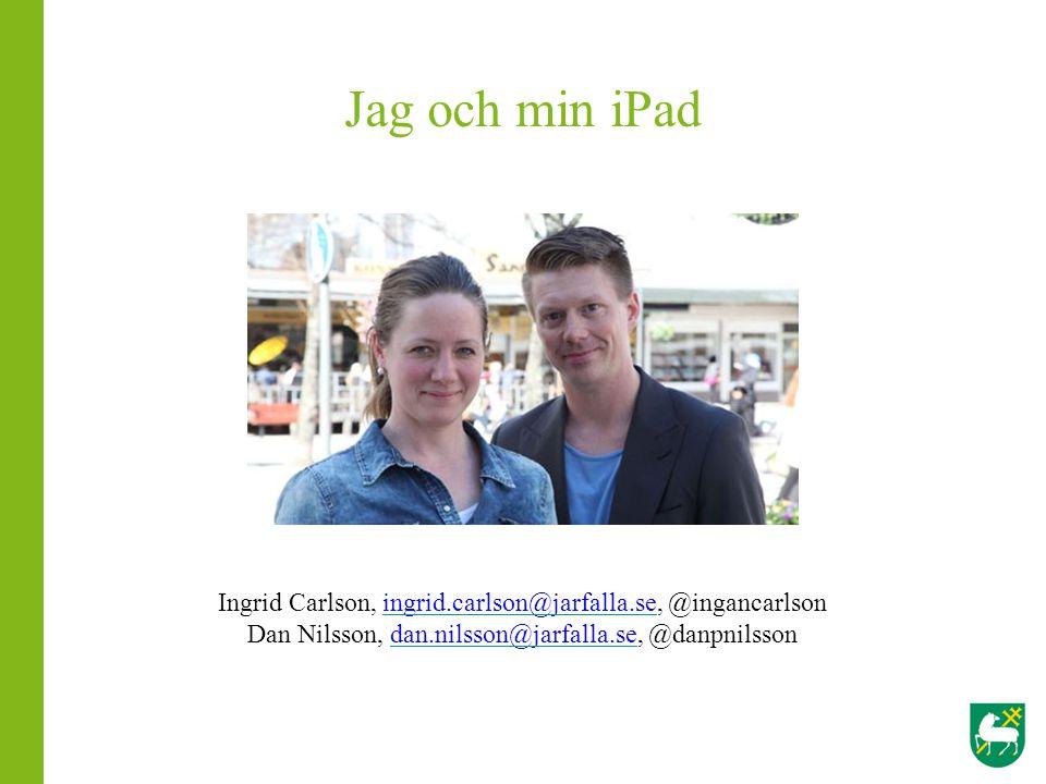 Jag och min iPad Ingrid Carlson, ingrid.carlson@jarfalla.se, @ingancarlsoningrid.carlson@jarfalla.se Dan Nilsson, dan.nilsson@jarfalla.se, @danpnilsso