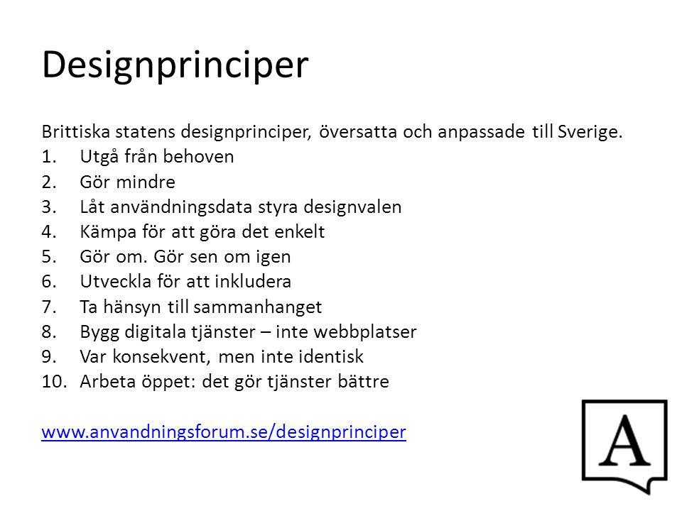 Designprinciper Brittiska statens designprinciper, översatta och anpassade till Sverige. 1.Utgå från behoven 2.Gör mindre 3.Låt användningsdata styra