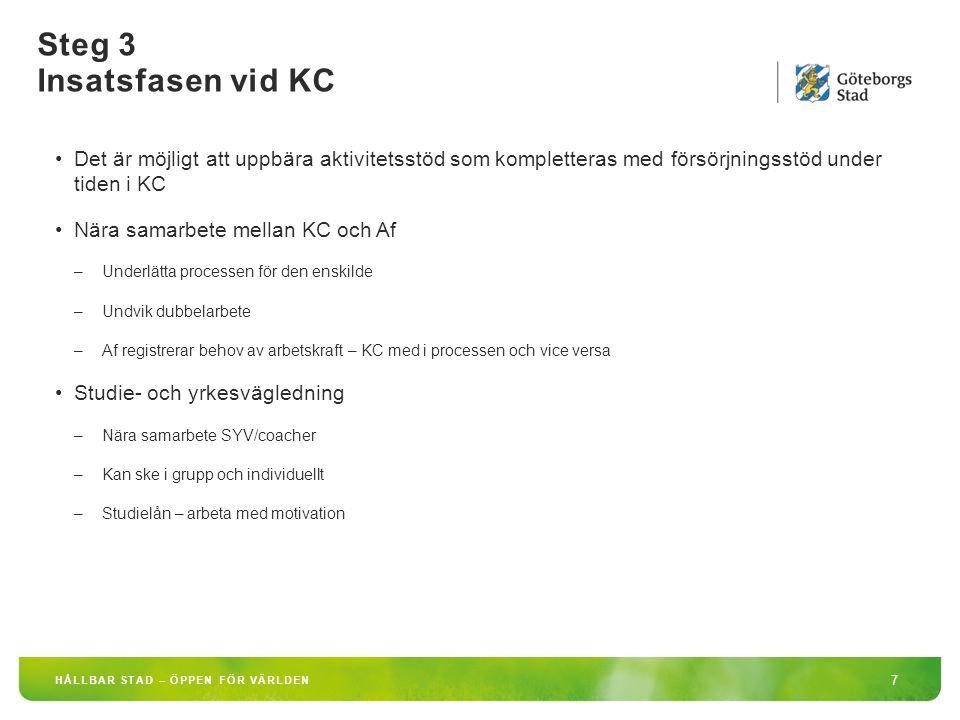 Steg 3 Insatsfasen vid KC 8 HÅLLBAR STAD – ÖPPEN FÖR VÄRLDEN Inslag i arbetet vid kompetenscenter –Jobbfokus och självförsörjningsfokus i allt som händer på KC –Jobbsökaraktiviteter –Arbetshandledning/arbetsstöd –Kurser/utbildningsinsatser/validering/yrkeskompetensbedömning –Arbetsnära praktik/arbetsprövning –Språkutveckling - med arbetsmarknadsfokus –Friskvård/Utblick över staden –Avstämningar med uppdragsgivaren, förtroendefullt samarbete – utan för mycket administration –Kombination av insatser, där utbildning kan vara en –Mångfaldsfokus –Vägledning/coachning
