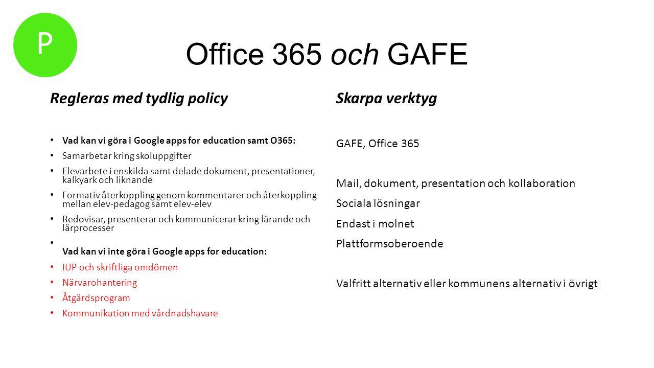 Office 365 och GAFE Regleras med tydlig policy Vad kan vi göra i Google apps for education samt O365: Samarbetar kring skoluppgifter Elevarbete i ensk