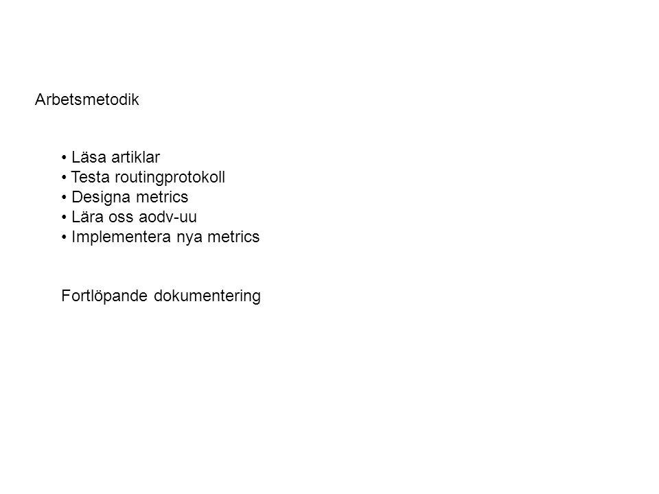 Arbetsmetodik Läsa artiklar Testa routingprotokoll Designa metrics Lära oss aodv-uu Implementera nya metrics Fortlöpande dokumentering
