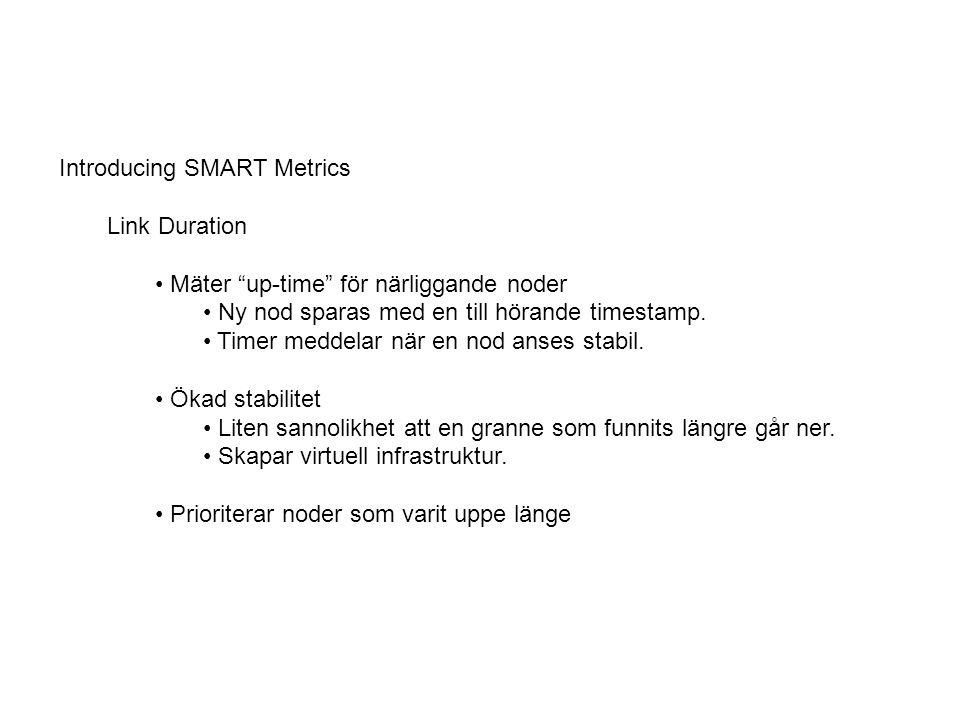 Link Change Rate Mäter antalet nya / döda noder Varje nod som går upp / går ner sparas som en event.