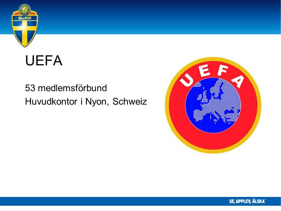UEFA 53 medlemsförbund Huvudkontor i Nyon, Schweiz