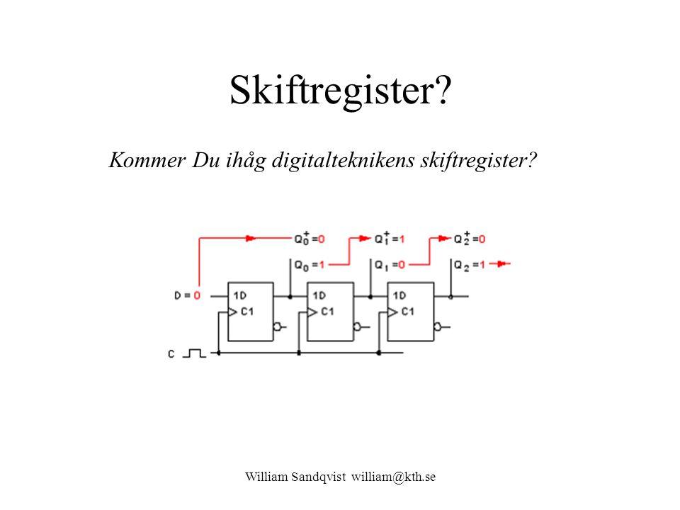 William Sandqvist william@kth.se Skiftregister? Kommer Du ihåg digitalteknikens skiftregister?