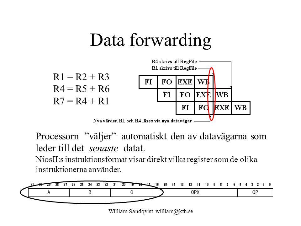 """William Sandqvist william@kth.se Data forwarding R1 = R2 + R3 R4 = R5 + R6 R7 = R4 + R1 Processorn """"väljer"""" automatiskt den av datavägarna som leder t"""