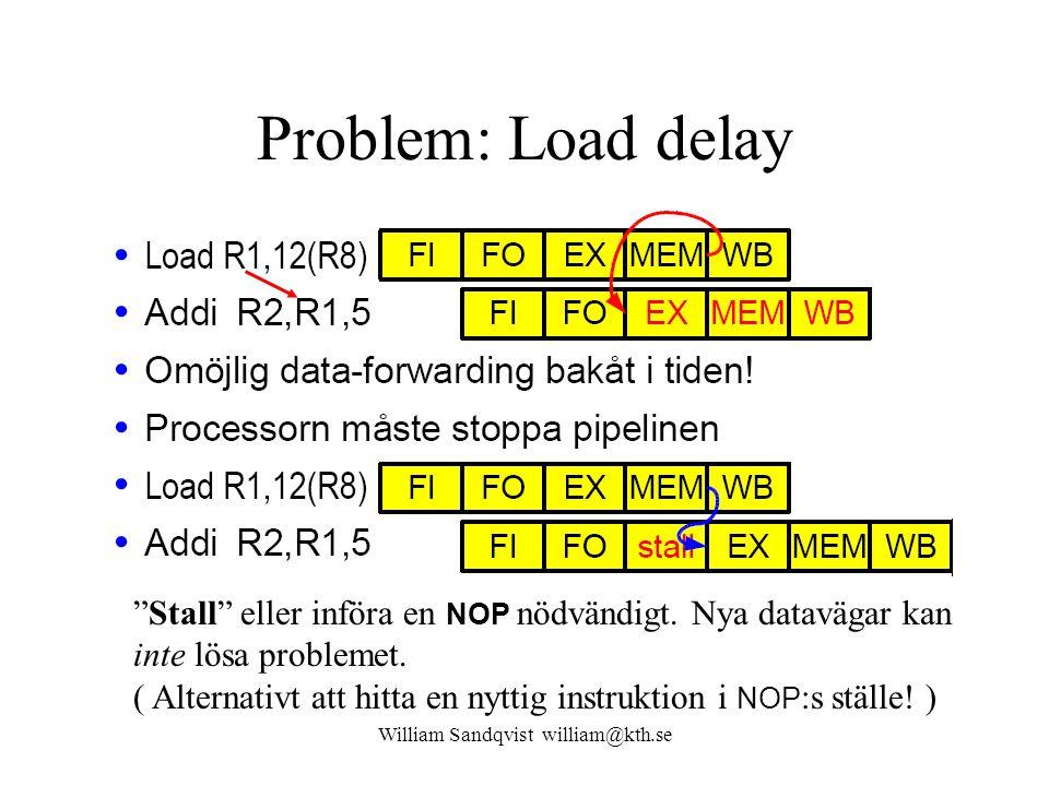 """William Sandqvist william@kth.se Problem: Load delay """"Stall"""" eller införa en NOP nödvändigt. Nya datavägar kan inte lösa problemet. ( Alternativt att"""