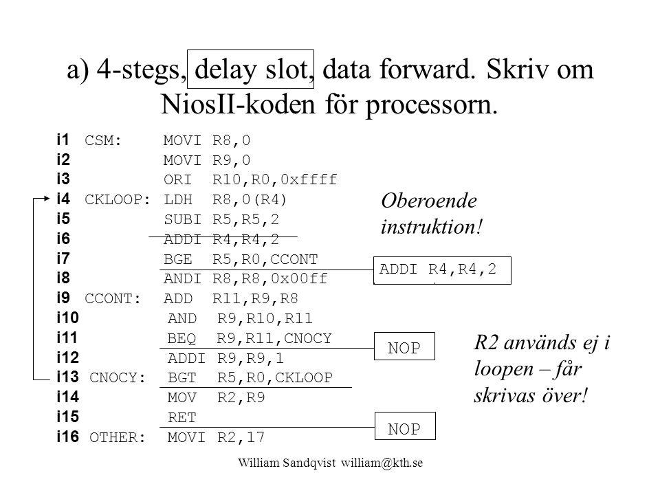 William Sandqvist william@kth.se a) 4-stegs, delay slot, data forward. Skriv om NiosII-koden för processorn. i1 CSM: MOVI R8,0 i2 MOVI R9,0 i3 ORI R10