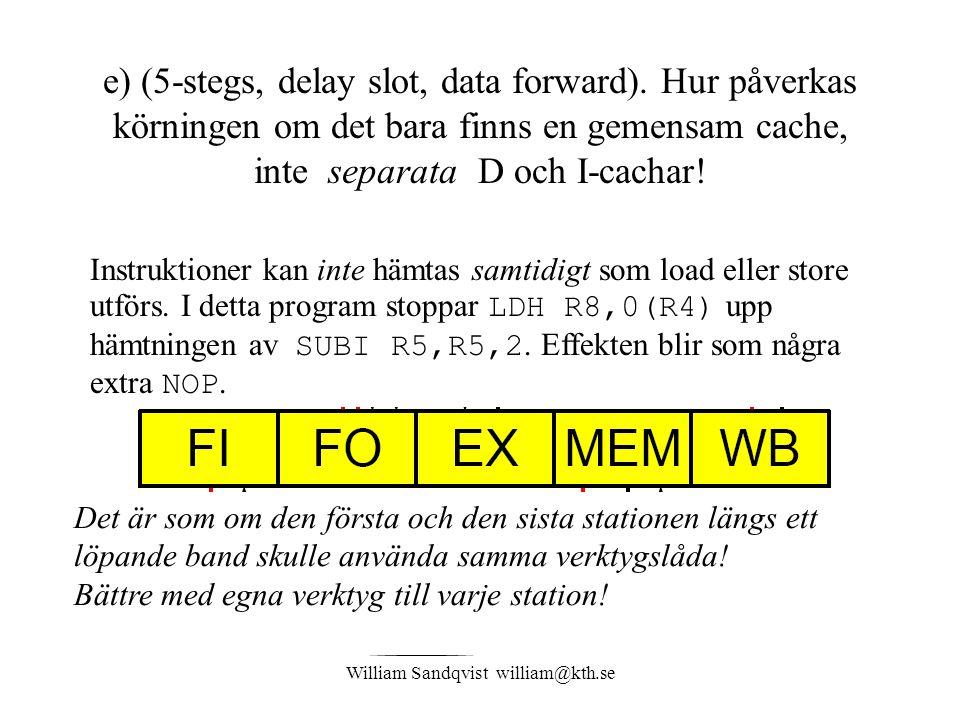 William Sandqvist william@kth.se e) (5-stegs, delay slot, data forward). Hur påverkas körningen om det bara finns en gemensam cache, inte separata D o