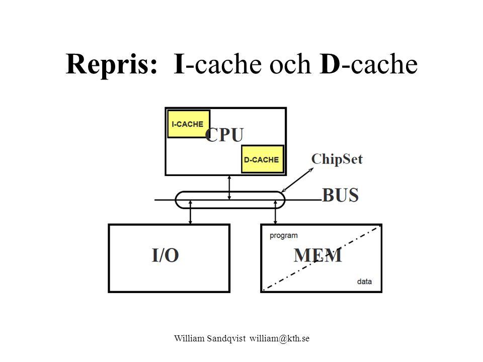 William Sandqvist william@kth.se Repris: I-cache och D-cache