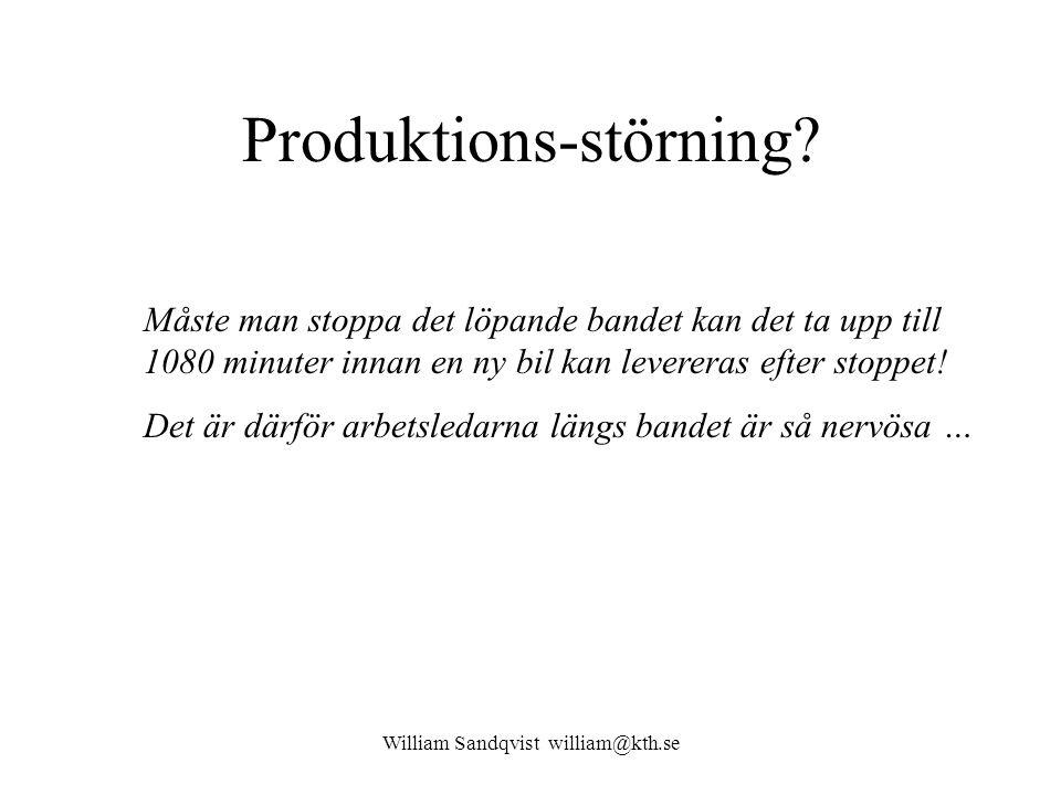 William Sandqvist william@kth.se Produktions-störning? Måste man stoppa det löpande bandet kan det ta upp till 1080 minuter innan en ny bil kan levere