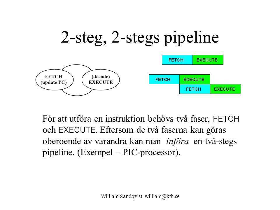 William Sandqvist william@kth.se 2-steg, 2-stegs pipeline För att utföra en instruktion behövs två faser, FETCH och EXECUTE. Eftersom de två faserna k