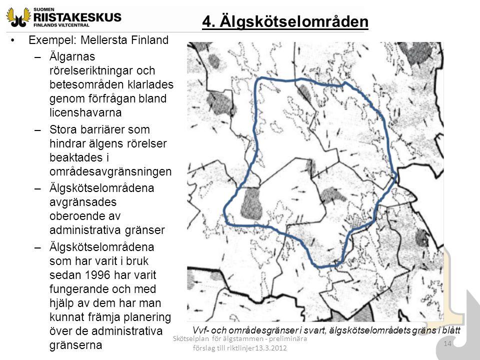 4. Älgskötselområden Exempel: Mellersta Finland –Älgarnas rörelseriktningar och betesområden klarlades genom förfrågan bland licenshavarna –Stora barr