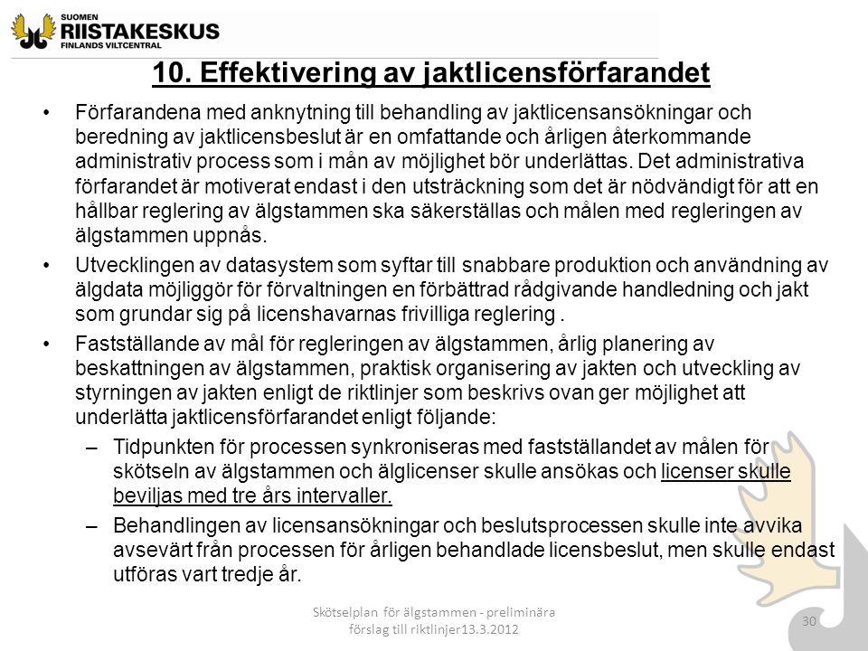 10. Effektivering av jaktlicensförfarandet Förfarandena med anknytning till behandling av jaktlicensansökningar och beredning av jaktlicensbeslut är e