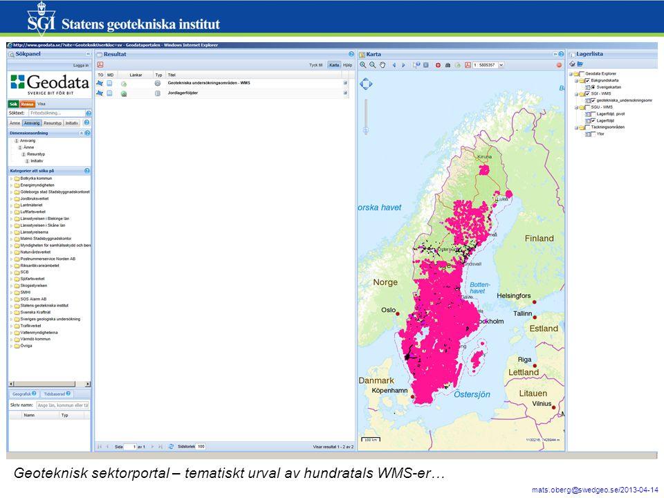 10 mats.oberg@swedgeo.se/2013-04-14 Geoteknisk sektorportal – tematiskt urval av hundratals WMS-er…